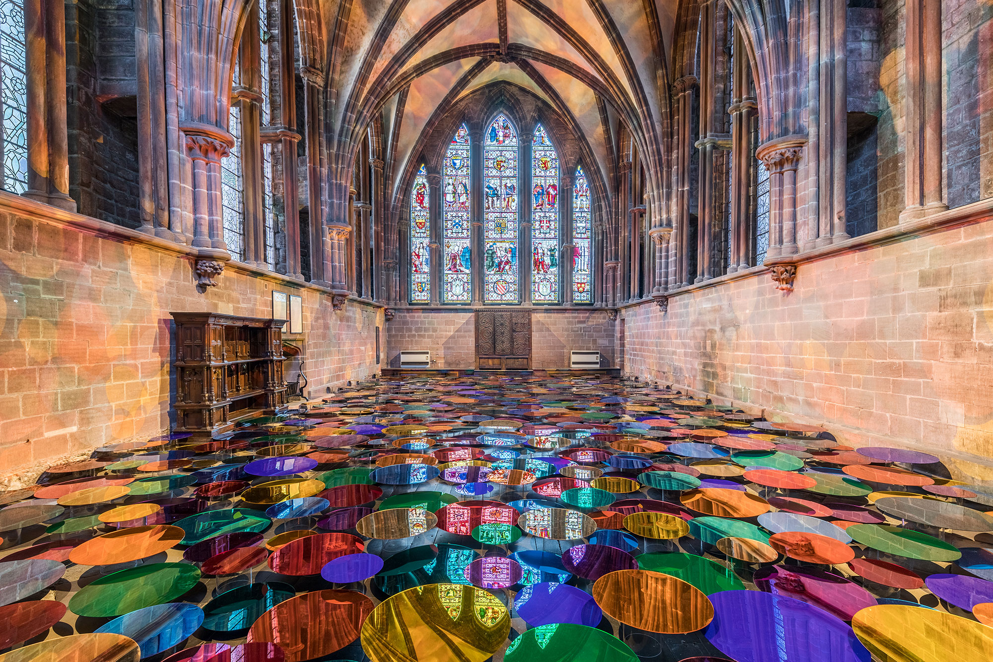 Liz West Art Installation Chester Cathedral wide view